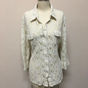 Cato Woman's Lace Long Sleeve Button Top